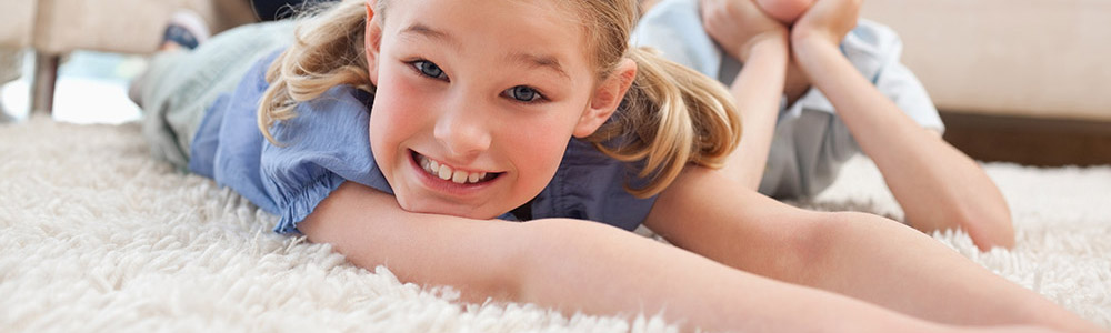 Children playing on clean carpets